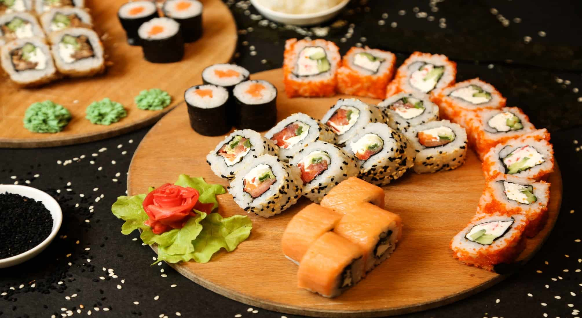 on sushi roll